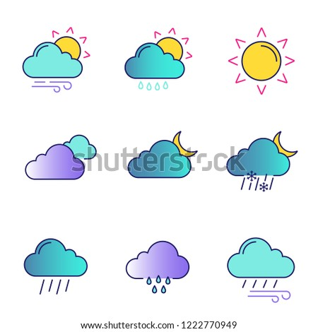 Weather forecast color icons set. Partly cloudy and windy weather, drizzle rain, sun, clouds, night, pouring and drizzle rain, wind, overcast, sleet. Isolated vector illustrations