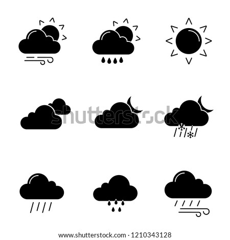 Weather forecast glyph icons set. Partly cloudy and windy weather, drizzle rain, sun, clouds, night, pouring and drizzle rain, wind, overcast, sleet. Silhouette symbols. Vector isolated illustration
