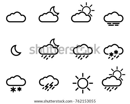 Weather Forecast Icons Set Black And White. Vector.