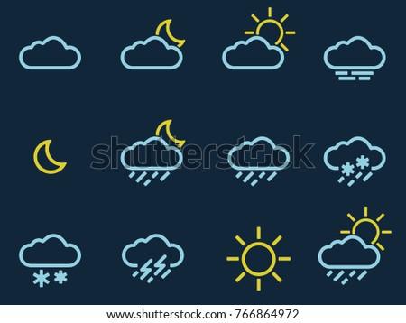Weather Forecast Icons Set Dark. Vector.