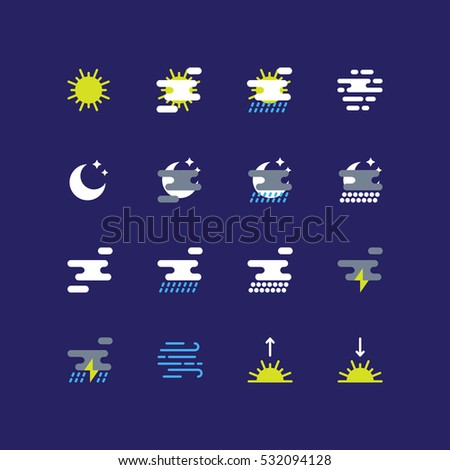 Weather forecast icons set. Flat icons of the sun, clouds, rain, snow, fog, wind, storm, moon, sunrise and sunset.