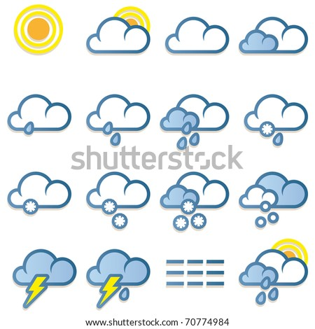 Weather forecast icons set on white background - vector