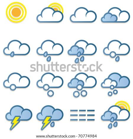 Weather forecast icons set on white background - vector