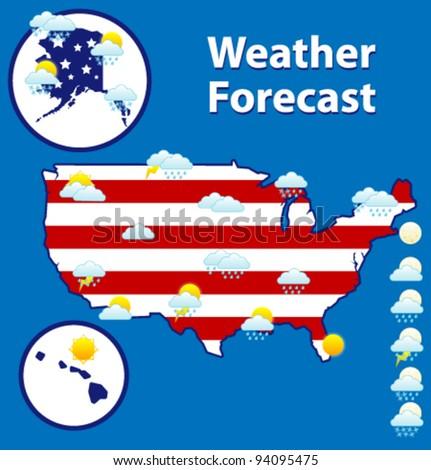 Weather forecast icons set. USA map.