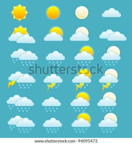 Weather forecast icons set. Vector.