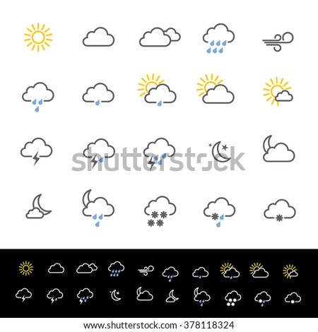 Weather forecast icons vector illustration.