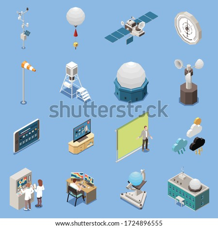 Weather forecast isometric icons set with meteorology symbols isolated vector illustration Foto stock ©