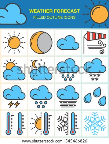 Weather forecast line icons set, filled outline vector symbol collection, linear colorful pictogram pack isolated on white. Signs, logo illustration