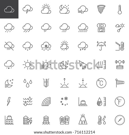 Weather forecast line icons set, outline vector symbol collection, linear style pictogram pack. Signs, logo illustration. Set includes icons as meteorology, climate, sun, moon, overcast, barometer