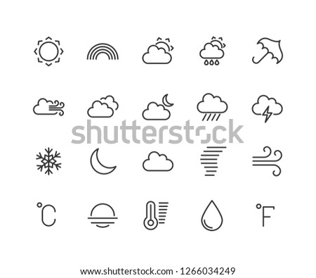 Weather forecast linear icons set. Snow, rain, sleet. Shower or drizzle, thunderstorm. Sunny, cloudy, foggy and windy weather. Isolated vector outline illustrations editable stroke 48x48 Pixel Perfect