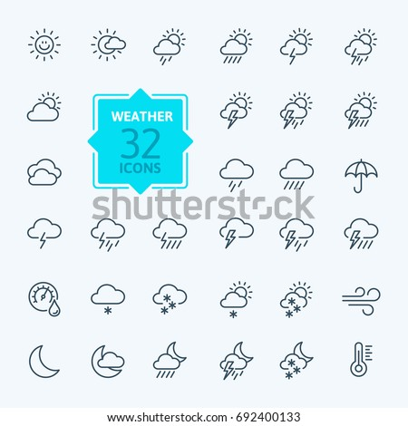 Weather forecast - outline web icon set, vector, thin line icons collection