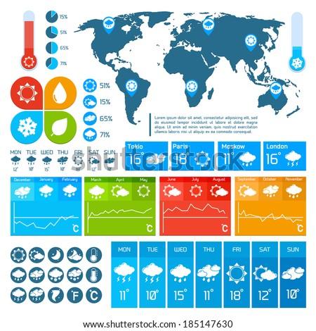 Weather forecast report infographics design elements set for business presentation vector illustration