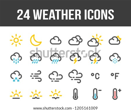 Weather forecast. Set of outline color weather icons. Vector