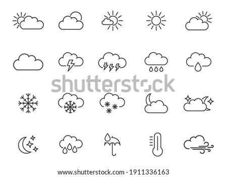 Weather forecast - thin line icons set. Vector, meteorological elements for web design, mobile applications.