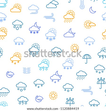 Weather Forecast Thin Line Seamless Pattern Background on a White Include of Sun, Temperature, Storm, Cloud, Rain, Snow, Thunderstorm and Wind. Vector illustration