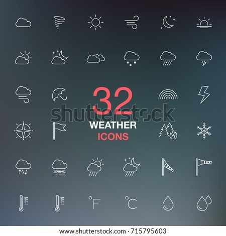 Weather forecast. Thin line web icon set, vector collection.