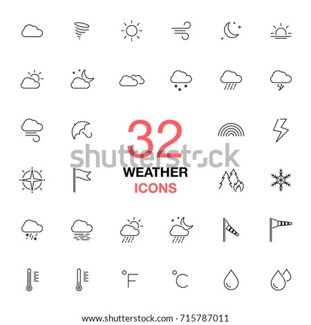 Weather forecast. Thin line web icons collection