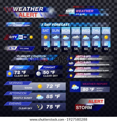 Weather forecast, TV report templates or widgets, vector meteorology transparent icons and television banners. Weather forecast and alerts for TV screen, temperature in Celsius and Fahrenheit Photo stock ©