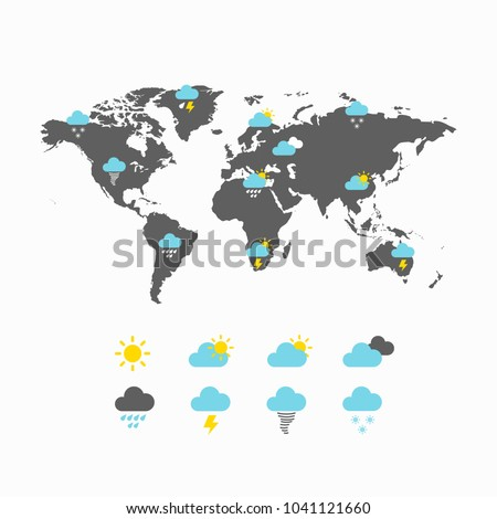 Weather forecast vector icons on world map, meteorology icons, also includes symbols such as cloud, cloudy, sun, storm, rain, snow. Collection of weather, nightly, breeze and other elements.