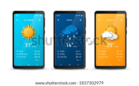 Weather forecast widget at smartphone screen. Vector illustration. Mobile phone with daily weather forecast application template. Sun, clouds, thunderstorm and rain
