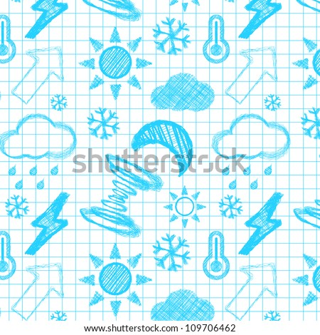 Weather hand drawn seamless pattern. Vector illustration