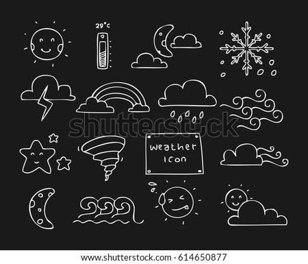 weather icon doodle set