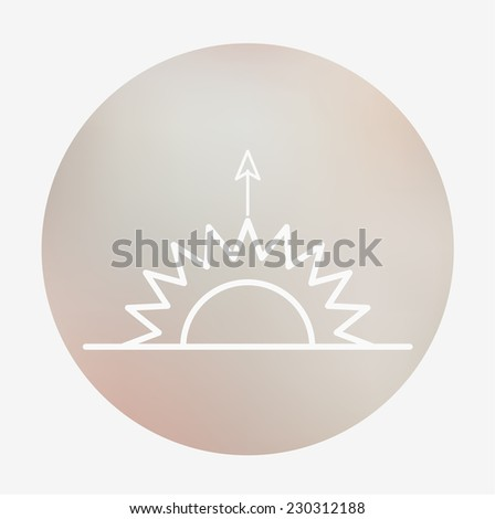 Weather icon on the blurred background. Horizon line, sun, sunrise. Vector illustration. Weather forecast  for web application or print.
