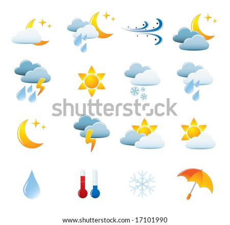 Weather Icon Set. Easy To Edit Vector Image.