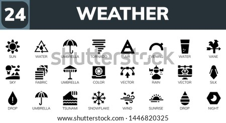 weather icon set. 24 filled weather icons.  Collection Of - Sun, Water, Umbrella, Tornado, Air, Evening, Vane, Sky, Fabric, Color, Vector, Rain, Silk, Drop, Tsunami, Snowflake