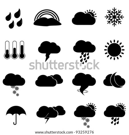 Weather icon set in black