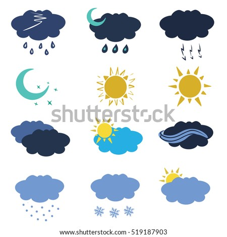 Weather icon set in flat style. Meteorology template instruments for app and web. Vector illustration.