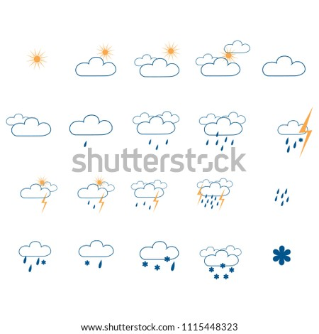 Weather icon set. Meteorology symbol weather forecast