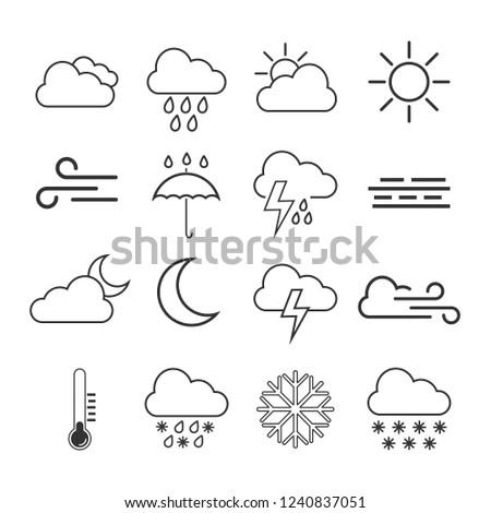 Weather icon set. Vector illustration, flat design.