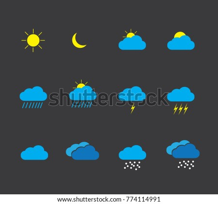 weather icon set , vector on dark background