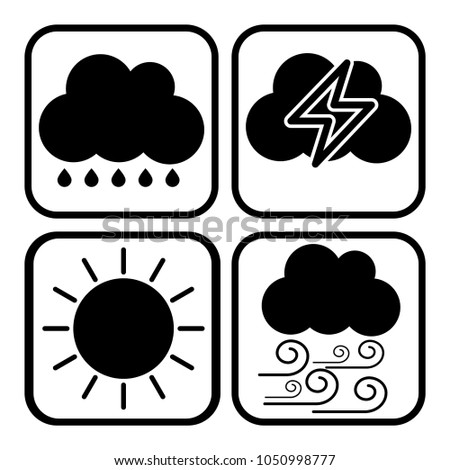 Weather icon show rainy thunder storm clear sunny windy strong wind - weather icon concept