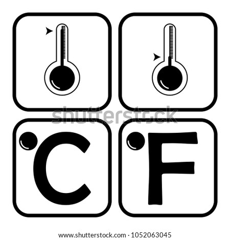 Weather icon showing hot and cold thermometer fahrenheit and celcius - weather icon concept