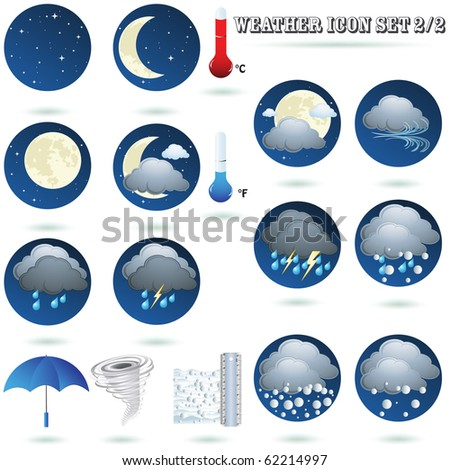 Weather icon sign set on night isolated on white vector
