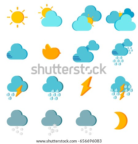 WEATHER ICON Simple graphic of weather icons on white background. It can be used as icon for weather forecast report.