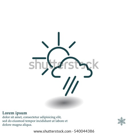 weather icon. sun behind the cloud with rain