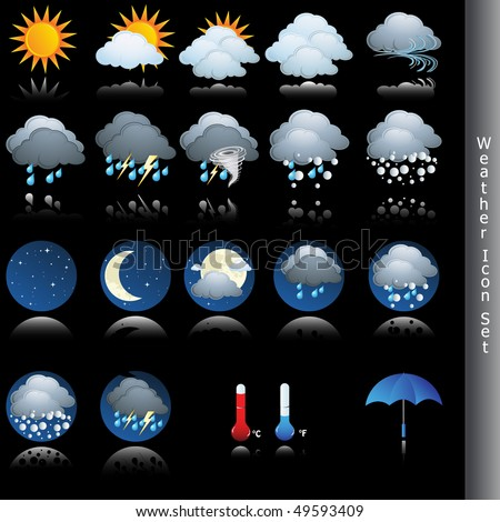 Weather icon vector set on black