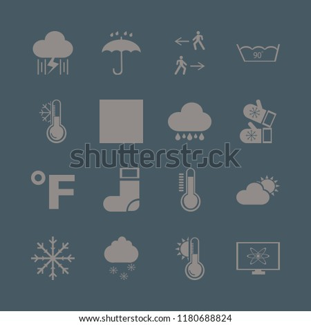 weather icon. weather vector icons set man walk, rain and lightning, fahrenheit and atom monitor
