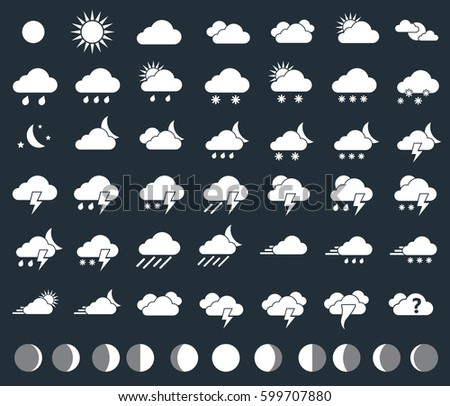 weather icons and moon phases, forecast symbols
