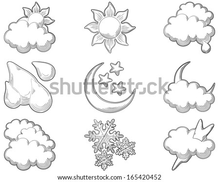 Weather icons  at engraving style. Set of vector computer icons for weather