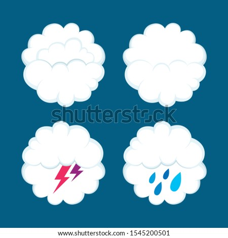 Weather icons. Clouds, lightning and rain drawn vector illustrations set. Part of set.