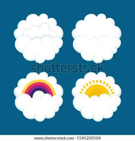 Weather icons. Clouds, rainbow and sun hand drawn vector illustrations set. Part of set.