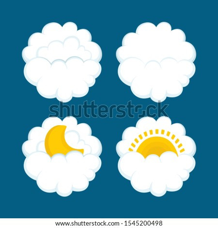 Weather icons. Clouds, sun and moon drawn vector illustrations set. Part of set.