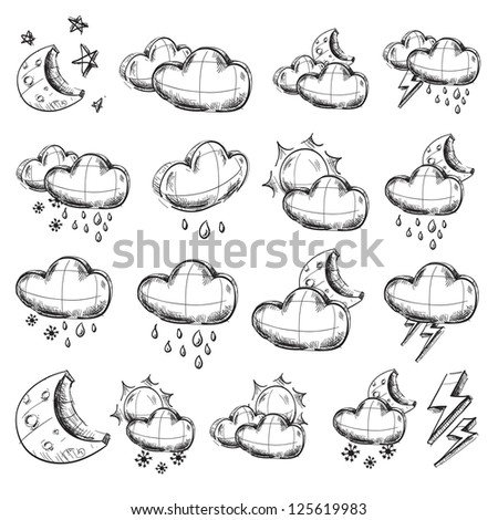 Weather icons collection. Hand drawing sketch vector illustration
