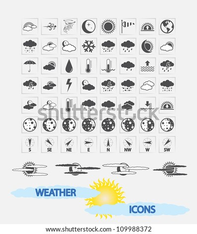 Weather Icons for day and night forecasting, for web and print applications. Vector illustration.
