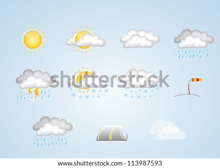 Weather icons for spring, summer, autumn and winter on blue background