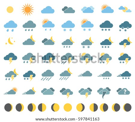 weather icons for weather forecast, moon icons